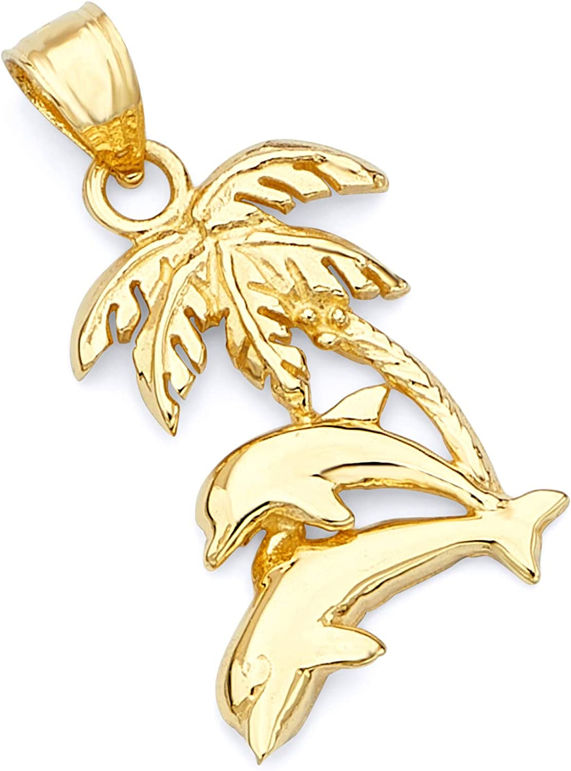 14k Yellow Gold Max 59% OFF Dolphin Max 73% OFF Tree Palm with Pendant