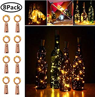 20 LED Wine Bottle Cork Lights Copper Wire String Lights, 8 Pack 2M/7.2FT Battery Operated Wine Bottle Fairy Lights Bottle DIY, Christmas, Wedding Party Décor Warm White (Bottle not Included)