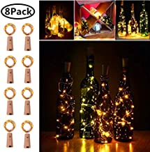 20 LED Wine Bottle Cork Lights Copper Wire String Lights, 2M/7.2FT Battery Operated Wine Bottle Fairy Lights Bottle DIY, Christmas, Wedding Party Décor (Warm White, 8 Pack)