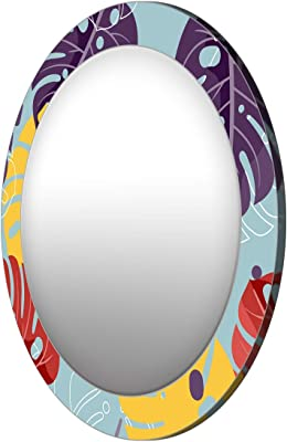 999Store Printed Violet and Yellow Leaves Pattern Round Mirror (MDF_17X17 Inch_Multi)