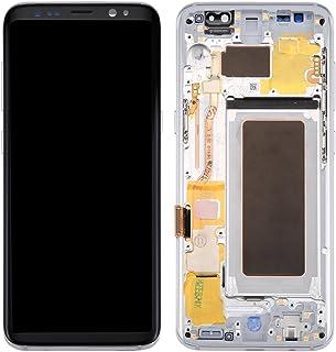Piezas de Recambio Compatible con la Pantalla LCD Samsung Galaxy S8 / G950 + Pantalla táctil con Marco para los teléfonos móviles (Color : Silver)