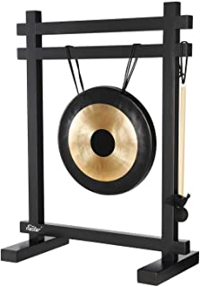 Eastar Gong Desk Gong Instrument Desk Chime Meditation Gong Percussion Instruments with Mallet Desktop Gong Table Chime Black/Bronze