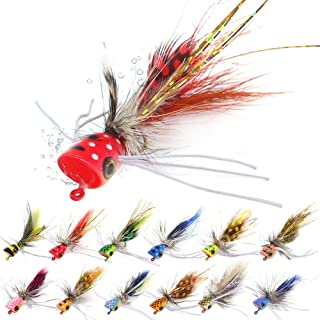 Popper-Flies-for-Fly-Fishing-Topwater-Panfish-Bluegill-Bass-Poppers Flies Bugs Lures 24pcs