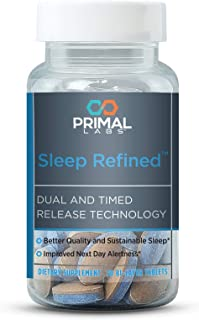 Primal Labs SleepRefined, Herbal Sleep Aid Natural, Non-Habit Forming Melatonin, Safe for Daily Use, Time Released Capsule, Go to Sleep Faster, Stay Asleep Longer, 30 Count. Free E-Book with Purchase