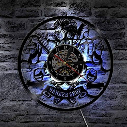NACHEN Barber Shop Clock Vinyl Schallplatte Hipster Friseur Hair Salon Beauty Salon Vinyl Uhr Dekor Art Vinyl Record Uhr Einzigartige Handgefertigte Dekorationen,Black,12Inch