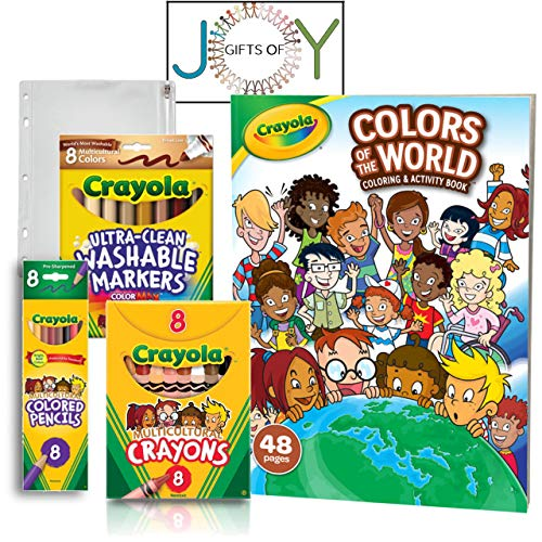 Colors of The World 48 Page Coloring & Activity Book with Multicultural Crayons, Colored Pencils, Markers, and case, Art Bundle with EXCLUSIVE GiftsOfJoy Colors of World coloring sheet