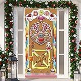 Decorazioni Natalizie, Copertura Colorata della Porta della Casa di Marzapane, Banner di Porta di Panpepato Copertura per Porta di Natale per Festività Invernali a Tema Natalizio