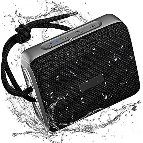 Altavoz Bluetooth, IPX7 Impermeable Altavoces Inalámbricos Portátiles con Sonido Estéreo de 10W, 12Horas de Reproducción con Micrófono, Tarjeta SD, Cordón para Senderismo, Camping, Viajes y Ducha