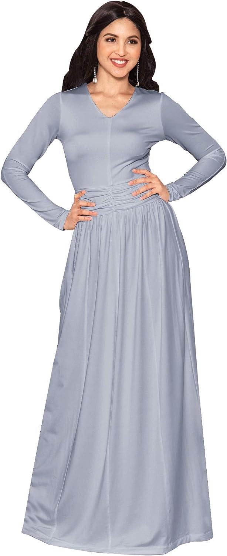 KOH KOH Womens Long Sleeve V-Neck Ruched Empire Waist Formal Evening Maxi Dress
