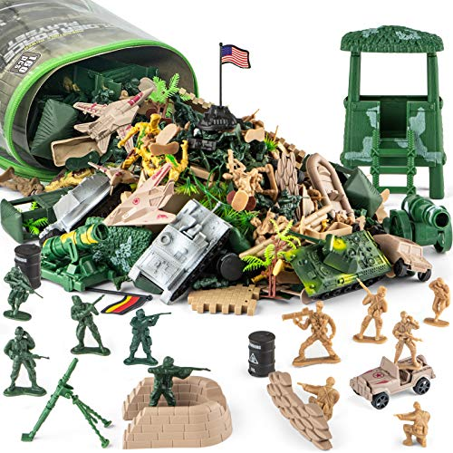 Divwa 160 Piece Army Men Toys for Boys, World War II Military Toy Soldier Action Figures Battlefield Army Base Playset and Accessories with Handbag for Kid Party Favor