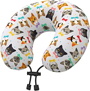 Nobildonna Latex Travel Neck Pillow with Cute Cartoon Cover for Toddlers Kids Girls, U Shaped Head Chin Support Flight Pillow for Airplane, Car Sleeping or Recliner Chair Napping(Kittens)