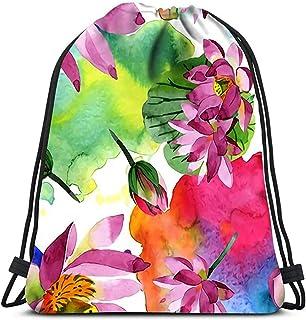 Mochila con cordón Flor de loto púrpura Flor botánica floral Hoja de primavera salvaje Flor silvestre Corredor de yoga Mochila Bolsas para zapatos