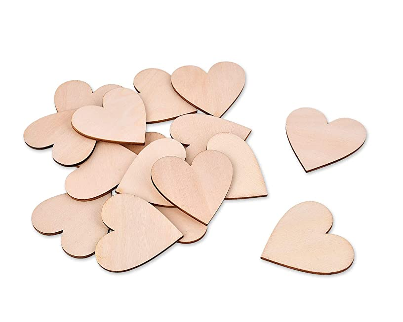 Ace Select 50 Pieces 2 Inches Blank Wood Hearts Slices Discs Wedding Christmas Ornaments Crafts Supplies Heart Cutout Shape Unfinished Wood