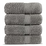 Chakir Turkish Linen Luxury Premium Cotton Long-Stable Turkish Towels (4-Piece, Bath Towel - Gray)
