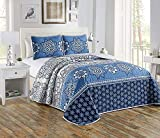 Luxury Home Collection 3 Piece King/California King Oversize Quilted Reversible Coverlet Bedspread Bed Cover Set Floral Printed Medallion Navy Blue