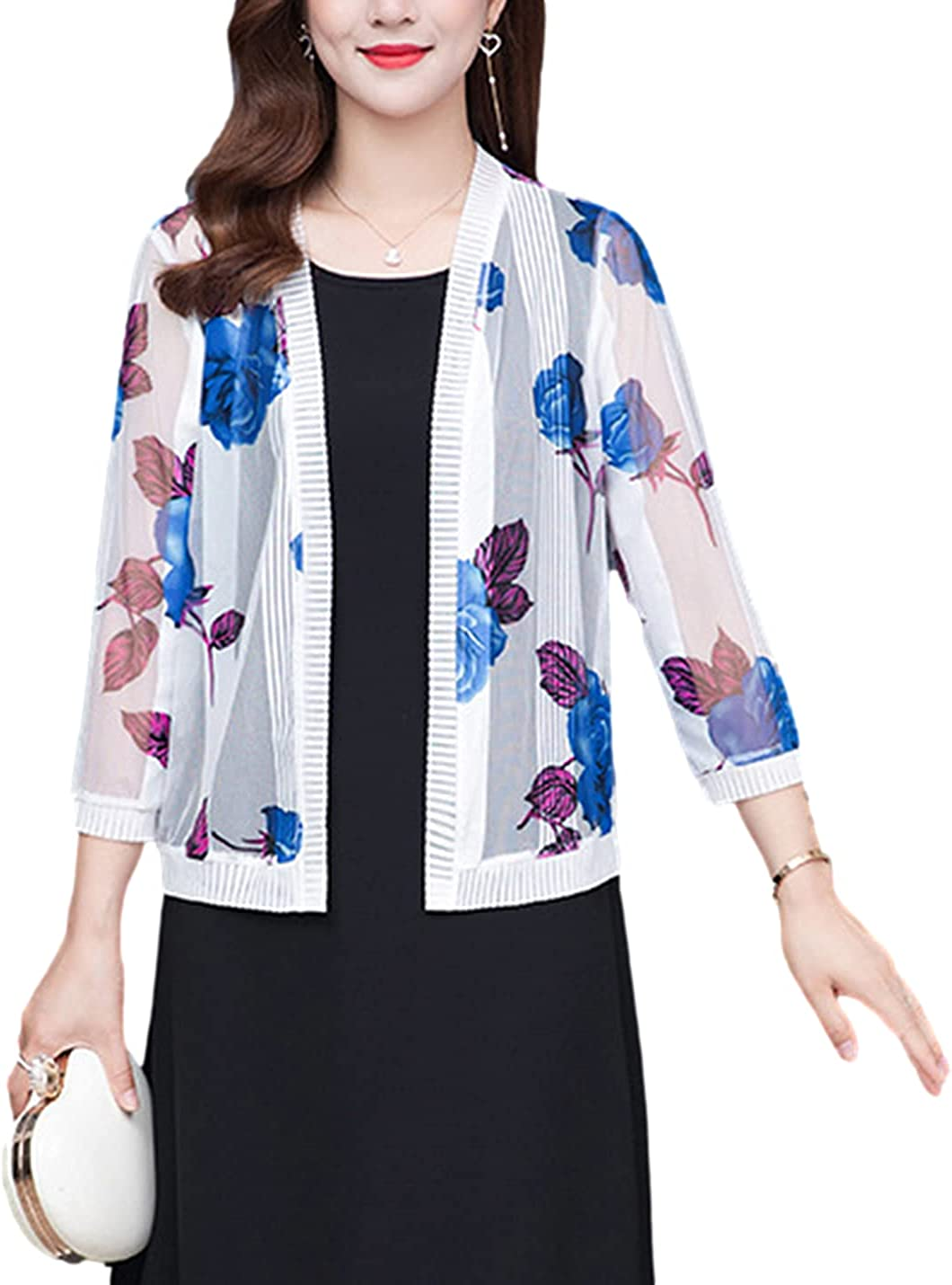 FindThy Women's Floral Print Lace Cardigan Sheer 3/4 Sleeve Ribbed Shrug Jacket Knitwear