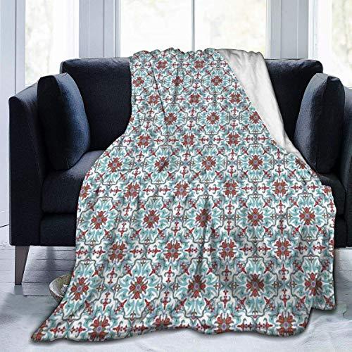 TEGUJ Manta de forro polar de franela, diseño étnico floral antiguo, estilo de mayólica italiana, manta de microfibra suave y esponjosa
