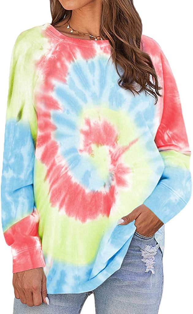 Sweatshirts Women Tie-dye Aesthetic Pullover Blouse Tops Loose Oversized Long Sleeve Daily Pullover Streetwear