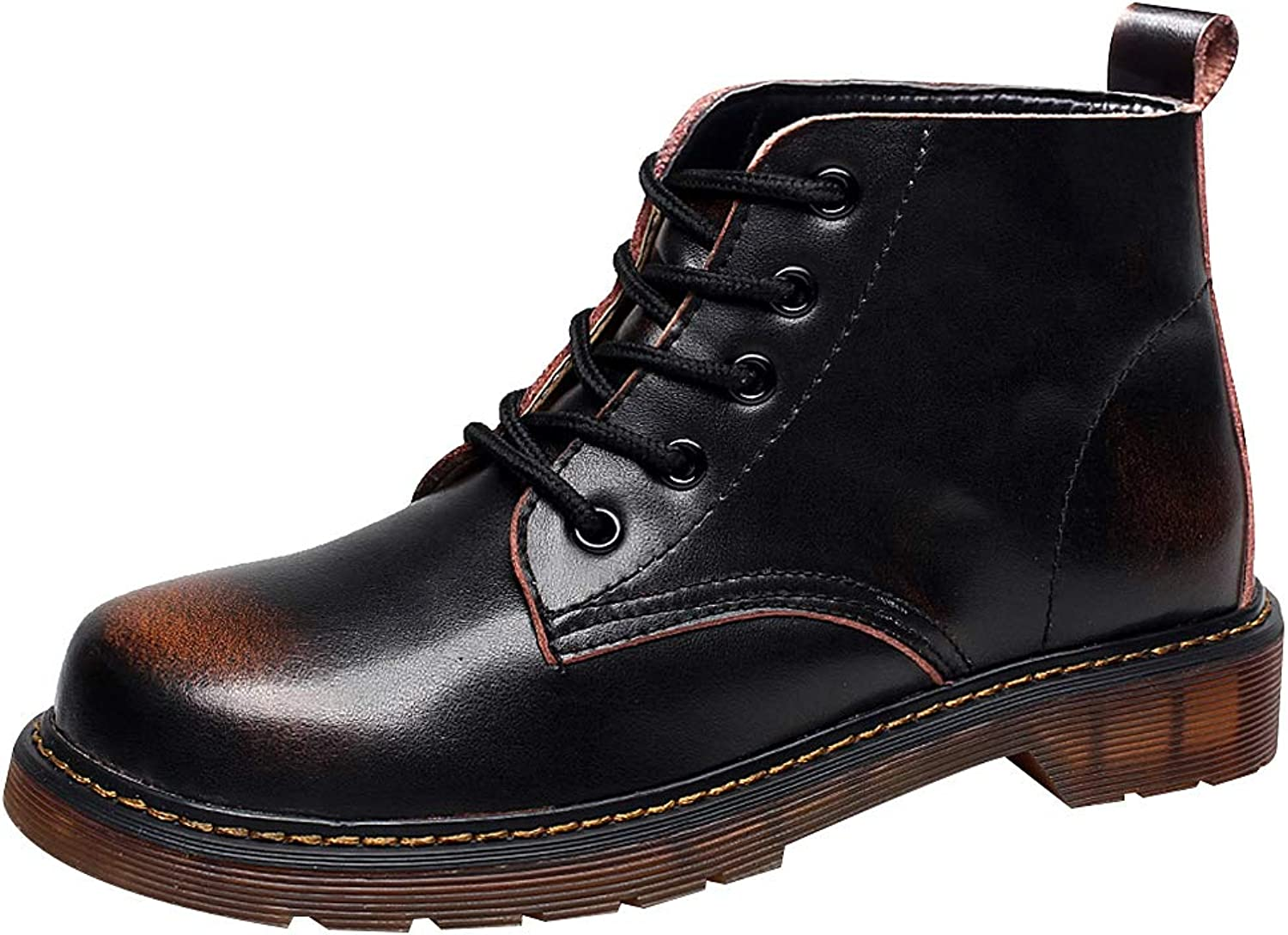 Shenn Women's Ankle High Combat Lace Up Motorcycle Leather Boots
