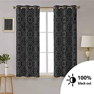 Dark Grey -Window Treatment Soundproof Drapes Baroque Venetian Flower Motifs Medieval Ornate Mosaic Gothic Design Elements -Thermal Insulated Curtains for Bedroom W72 x L45 Inch Black Grey