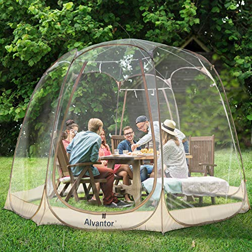 of all year round gazebos dec 2021 theres one clear winner Alvantor Bubble Tent Screen House Room Camping Tent Canopy Gazebos 8-10 Person for Patios, Large Oversize Weather Pod, Premium Greenhouse Instant Pop Up Tent, Cold Protection Beige 12'×12'