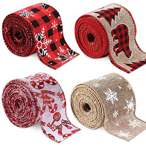 Christmas Wired Edge Ribbon, Burlap Christmas Tree Garland Buffalo Plaid Ribbon for Christmas Tree Crafting Ribbon for Decoration and Bows, 2.5 Inches x 26 Yards in Total
