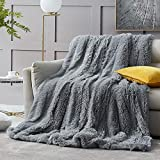 Hansleep Shaggy Faux Fur Blanket, Ultra Soft Plush Fuzzy Throw Blanket with Reversible Warm Sherpa - Sofa Couch Bed Decoration for All Season Use (Gray, Queen 90x90)