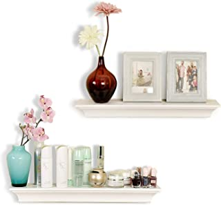 WELLAND Classic Painted Wall Floating Shelf Crown Molding Mantle Display Ledge Shelves, 24-Inch, White