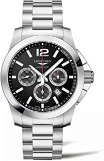 Longines Conquest 44mm L3.801.4.56.6 Automatic Chronograph Black Dial Men's Watch