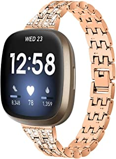 E ECSEM Bling Watch Strap Compatible with Fitbit Sense Band Versa 3 Bands, Dressy Metal Bracelet Jewelry Replacement Wrist...