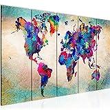 Runa Art Wandbild XXL Weltkarte 200 x 80 cm Bunt 5 Teilig - Made in Germany - 013355a