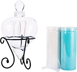 AF ANDREW FAMILY Monogrammed Etched Wedding Glass Heart Shaped Unity Set with Metal Stand- Initial M White& Blue Sand Included