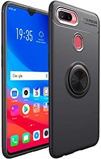 Oppo F9 - smooth Auto Focus TPU case cover with metal ring - black