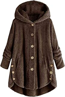 Womens Winter Hooded Faux Fur Long Coats Jacket Button Down Fluffy Outwear