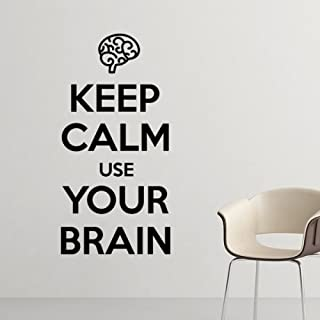 DIYthinker Quote Keep Calm and Use Your Brain Funny Humor Illustration Pattern Silhouette Removable Wall Sticker Art Decal...