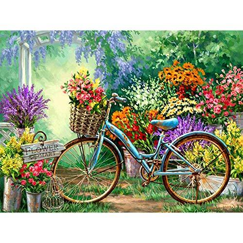 Kit Pintura 5D Números Para Adultos Bicicleta Pintura De Diamante Redonda Completa Con Diamantes Para Decoración Del Hogar Pintura De Paisajes40X50Cm