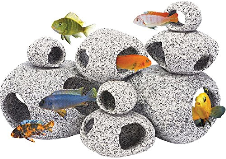Penn Plax Stone Replica Aquarium Decoration Realistic Granite Look with Fish Hideaway 8 Piece Set