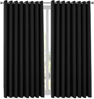 H.VERSAILTEX Thermal Insulated Room Darkening Panels Large Window Curtains, Room Divider Curtains for Bedroom, Extra Long and Wide Blackout Curtains for Patio Door (9ft Tall by 8.5ft Wide) - Black
