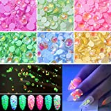 Luminous Nail Rhinestones, 6 Pots Party/Theme Glow in Dark Fluorescent Nails Gems, Over 330 Pcs NEON Night Polarized light 3D Nail Charms Decoration with Bonus Tweezers