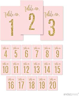 Andaz Press Blush Pink Gold Glitter Print Wedding Collection, Table Numbers 1-20 on Perforated Paper, Single-Sided, 4 x 6-inch, 1 Set