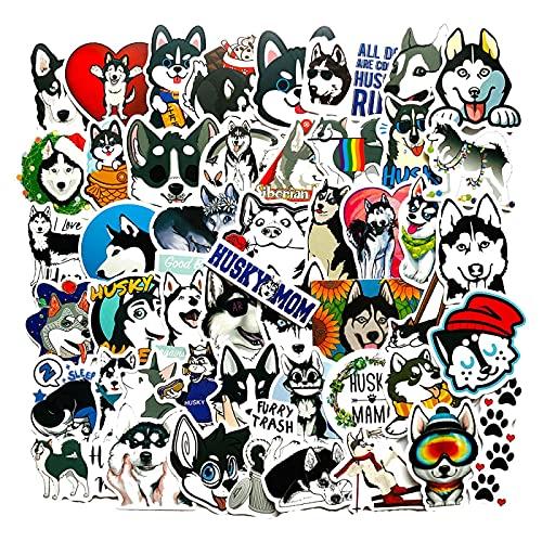 WYZNB 49 unids lindo perro husky dibujos animados etiqueta maleta casco cuaderno graffiti decoración DIY impermeable etiqueta