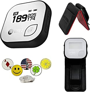 AMBA7 GolfBuddy Voice 2 Golf GPS/Rangefinder Bundle with Belt Clip, 5 Ball Markers and 1 Hat Magnetic Clip
