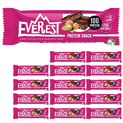 Everest Snacks Protein Snack - Vegan Protein Bar - Healthy Low Sugar, Low Calorie Guilt-Free Sports Bars - High in Fibre and Protein - 15 x 40g Protein Bars - Dark Chocolate & Hazelnut Crisp