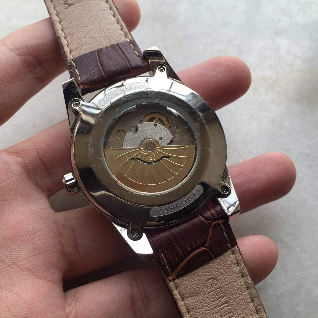 GFDSA zilveren roestvrij stalen kalender herenhorloges automatisch mechanisch sport goud zwart leer saffier vrijetijdsklok zwart leder