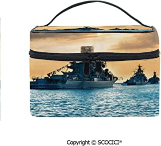 Lightweight Cosmetic Travel Bag Beauty Toiletry Bag Ship Convoy on Sea Carrying Supplies to Battlefield Enemy Coasts Warfare Photo Portable Multi-function Organizer