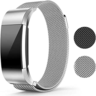 Replacement Bands for Fitbit Charge 2-Stainless Steel Metal Bracelet with Magnet Clasp, Smart Wristband Accessories, Silver/6.5''– 9.9
