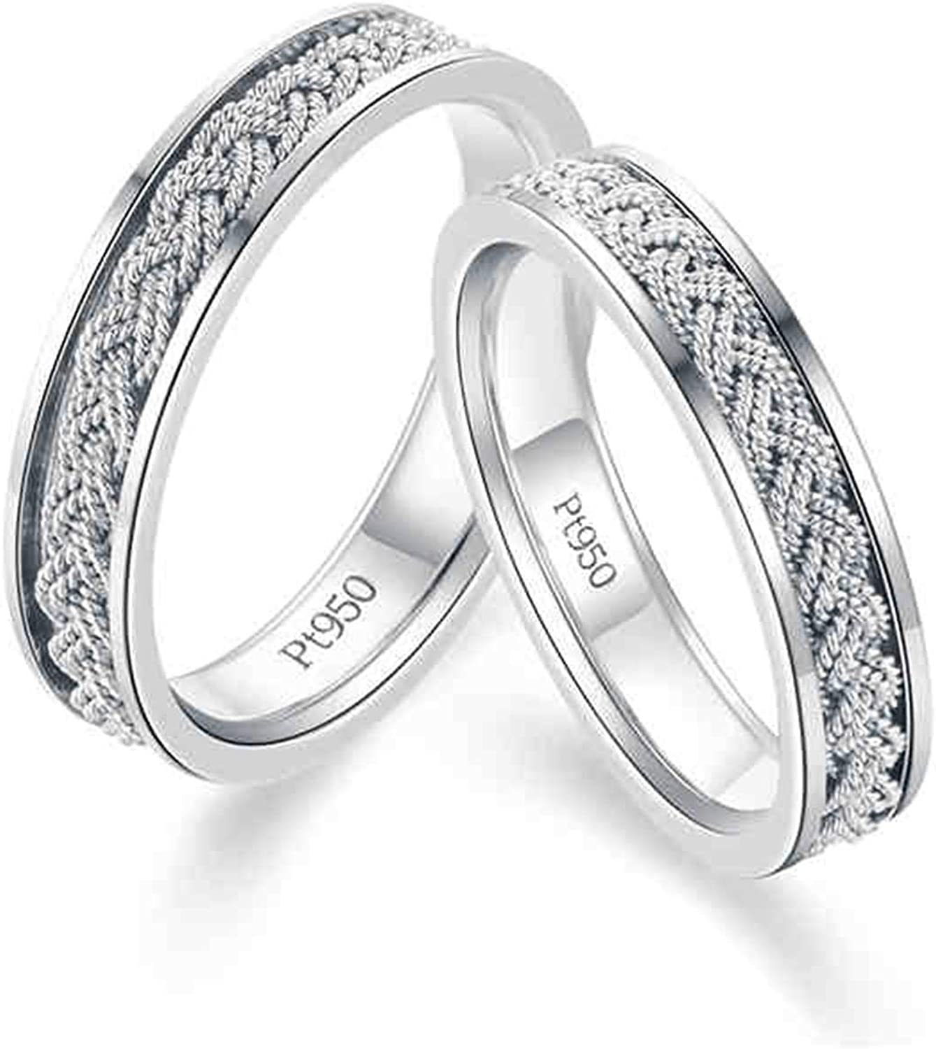 Flat Rectangular PT950 Square Edged Platinum Ring His and Hers Bands