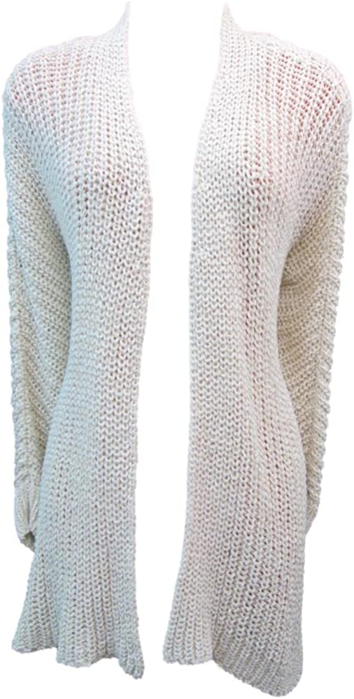 Eileen Fisher Soft Wheat Rib Cable Knit Straight Cardigan Sweater