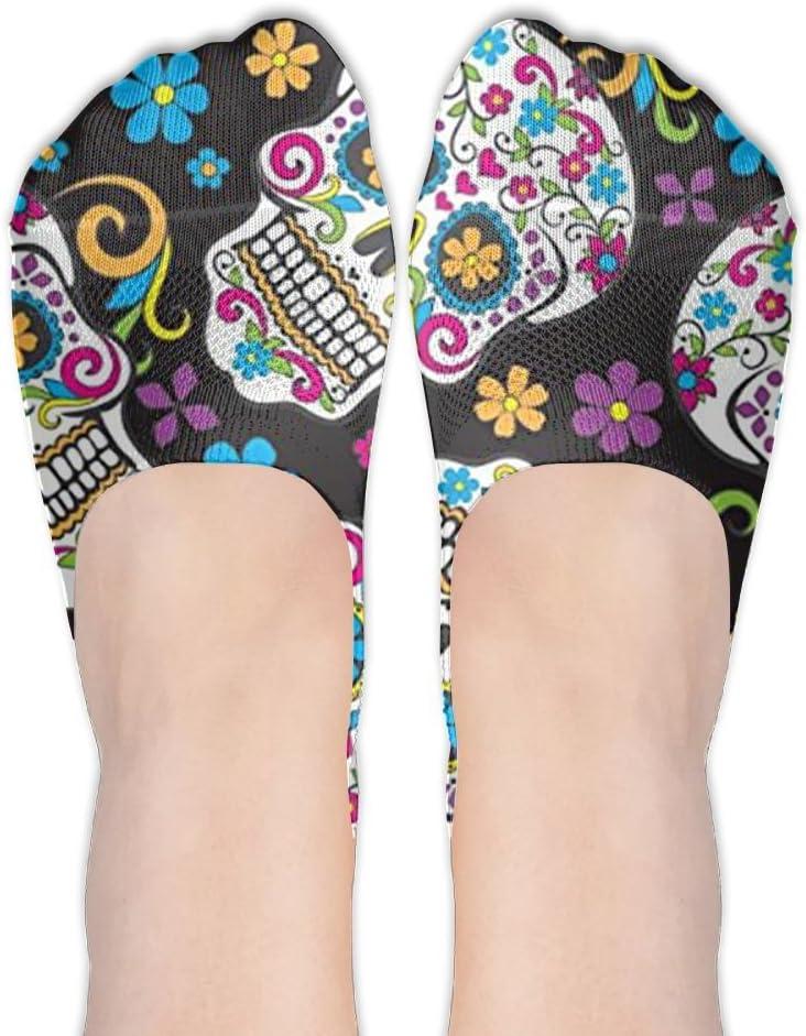 Sfd4wd2dsd Sugar Skulls Black No Show Liner Socks Women Low Cut Casual Socks Non Slip