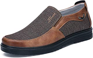 COSIDRAM Men's Slip-On Loafer Casual Driving Shoes Comfortable Lightweight Breathable Canvas Great Travel Walking Shoes for Adult Male Black Grey Brown Plus Grey Leather Size 10.5